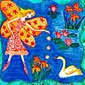 Fairy Feeding Swan by Sushila Burgess