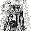 Fairy House Stump With Penthouse by Dawn Boyer
