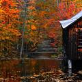 Fall Barn And River N Leverett Ma by Richard Danek