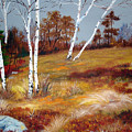 Fall Birch Trees And Blueberries by Laura Tasheiko