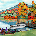 Fall Boat And Dock by Linda Marcille