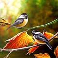 Fall Chickadees by Anthony J Padgett
