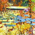Fall Colors On The Lily Pond by John Lautermilch