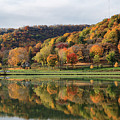 Fall Colors Winona Mn West Lake And Woodlawn Cemetery by Kari Yearous
