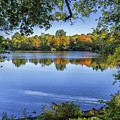 Fall Foliage At Turners Pond In Milton Massachusetts by Brian MacLean