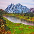 Fall In Mountains Landscape Oil Painting by Natalja Picugina
