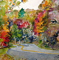 Fall Road - Watercolor by Donna Hanna