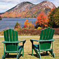 Fall Scenic With  Adirondack Chairs At Jordan Pond by George Oze