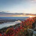 Fall Sunrise At Garvin Heights Winona by Kari Yearous
