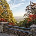 Fall View Of Winona Minnesota With Railing by Kari Yearous