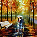 Fall  White Umbrella by Leonid Afremov