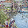 Family Fishing At Eling Tide Mill Hampshire by Martin Davey