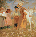Family Group With Cow by Louis Comfort Tiffany
