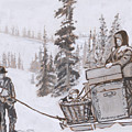 Family Moving With Sled Historical Vignette by Dawn Senior-Trask