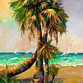 Family Of Palm Trees With Sail Boats by Mary DuCharme