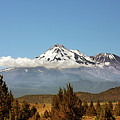Family Portrait - Mount Shasta And Shastina Northern California by Christine Till