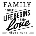 Family Where Life Begins And Love Never Ends by Inspirational Art