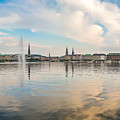 Famous Binnenalster In Hamburg Downtown At Sunset by JR Photography