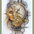 Fantasy Art - Time Encaptulata For A Woman's Face, Clock, Gears And More. L A S With Ornate Frame. by Gert J Rheeders