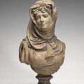 Fantasy Bust Of A Veiled Woman (marguerite Bellanger?) by Albert-ernest Carrier-belleuse