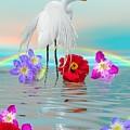 Fantasy Stork-flowers-rainbow On Ocean by Susanna Katherine
