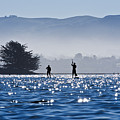 Faraway Paddle Boarders In Morro Bay by Bill Brennan - Printscapes
