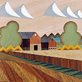 Farm By Ripon -marquetry-image by Bruce Bodden