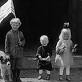 Farm Children And Flag by Unknown