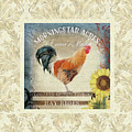 Farm Fresh Damask Barnyard Rooster Sunflower Square by Audrey Jeanne Roberts