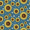 Farm Fresh Sunflower Blue Dot Circle Toss Pattern by Audrey Jeanne Roberts