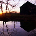 Farm Pond At Sunset by George Ferrell