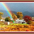 Farm Scene With Rainbow After Some Rains L A With Decorative Ornate Printed Frame. by Gert J Rheeders