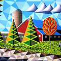 Farm With Three Pines And Cow by Bruce Bodden