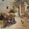 Farm Yard Scene by Henry Herbert La Thangue