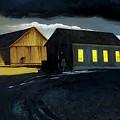 Farm Yard With Moonlight And Rain by Lynn Hansen