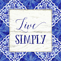 Farmhouse Blue And White Tile 8 - Live Simply by Audrey Jeanne Roberts