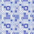 Farmhouse Blue And White Tile Pattern 1 - Patchwork Vintage Tile by Audrey Jeanne Roberts