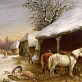 Farmyard In Winter  by Henry Woollett