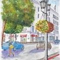 Farola With Flowers In Wilshire Blvd., Beverly Hills, California by Carlos G Groppa
