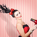 Fashion Model Straightening Long Brunette Hair by Jorgo Photography - Wall Art Gallery