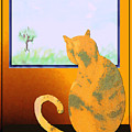 Fat Cat At Her Window by Kae Cheatham