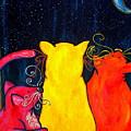 Fat Cats Star Gazing by Patti Schermerhorn