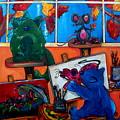 Fat Cats Take Over My Art Studio by Patti Schermerhorn