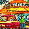 Favorite Dive-in Orange Julep Vintage Montreal Scene Roadside Attraction Art For Sale Carole Spandau by Carole Spandau
