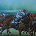 Favorite, Horse Race Art by Laurel Moore