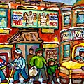 Favorite Montreal Bagel And Butcher Shops Rue Fairmount Winter Hockey Game Painting For Sale  by Carole Spandau