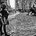 Fearless Girl And Wall Street Bull Statues 3 Bw by Nishanth Gopinathan