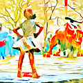 Fearless Girl And Wall Street Bull Statues 6 Watercolor by Nishanth Gopinathan
