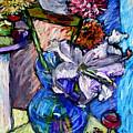 February Still Life Flowers Wine And Orange by Angelina Marino