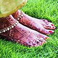 Feet With Mehndi On Grass by Athul Krishnan (www.athul.in)
